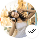 Woman in white tank top moving head with headphones