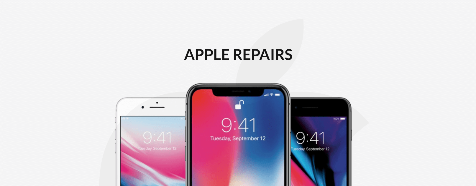 Three iPhones with Apple Repairs title