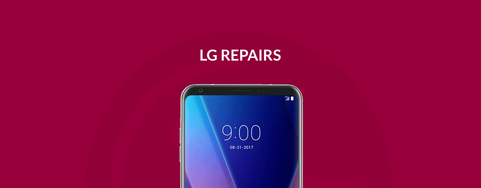 Text LG Repair with red background and LG phone