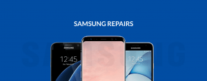 Three Samsung phones with blue background and Samsung Repairs text