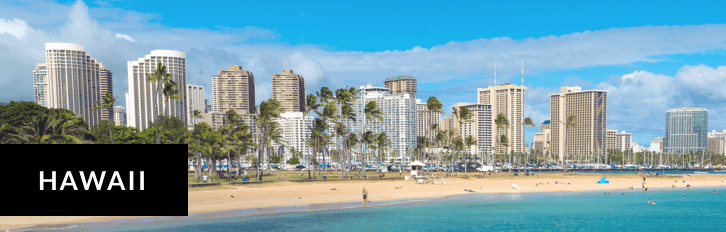 Beachside in Hawaii with water beaches and buildings