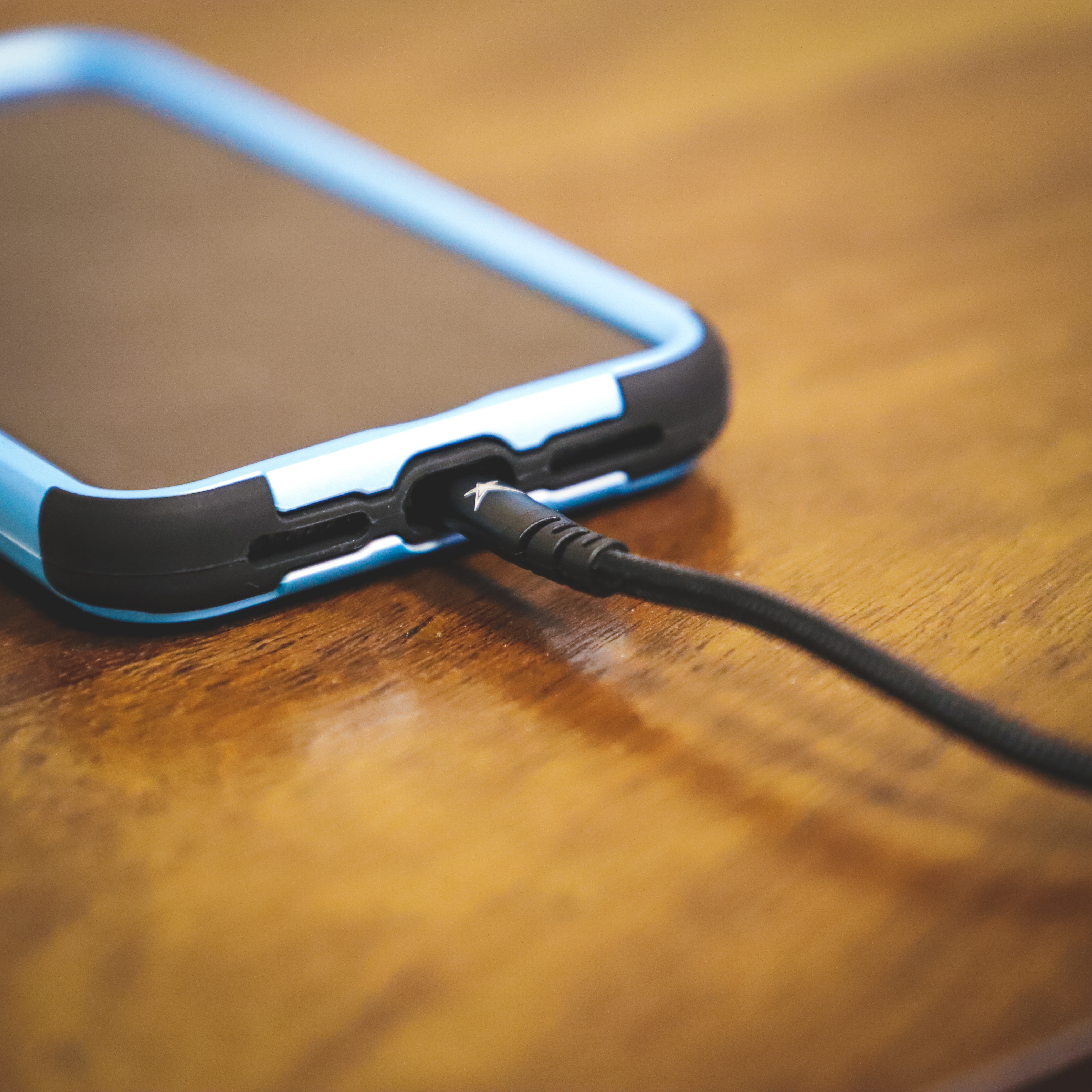 iphone charging cable blue case